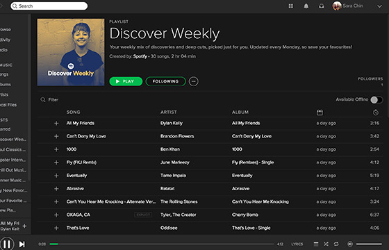 Interface of Free Spotify Premium